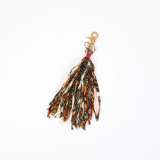 SUBTLE authentic  Batik Fabric Fringe Key Holder Beige