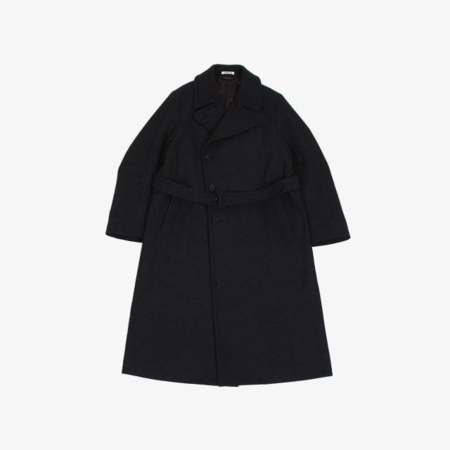 AURALEE  LIGHT MELTON DOUBLE-BREASTED COAT TOP CHARCOAL [A20AC01LM]