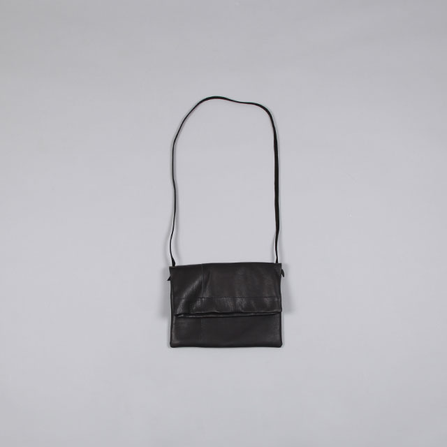 LEATHER & SILVER MOTO Sacoche – Goat Leather Black [BAG24]