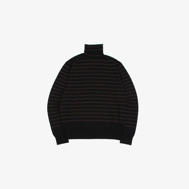 TheSoloist. turtleneck striped sweater. black×chocolate [sk.0012bAW20]