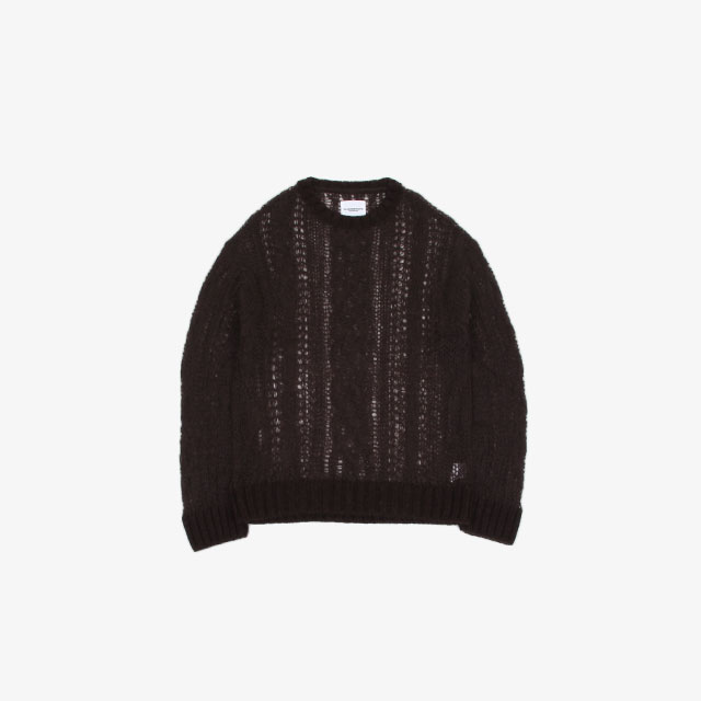 TheSoloist. crew neck aran sweater. chocolate [sk.0008aAW20]