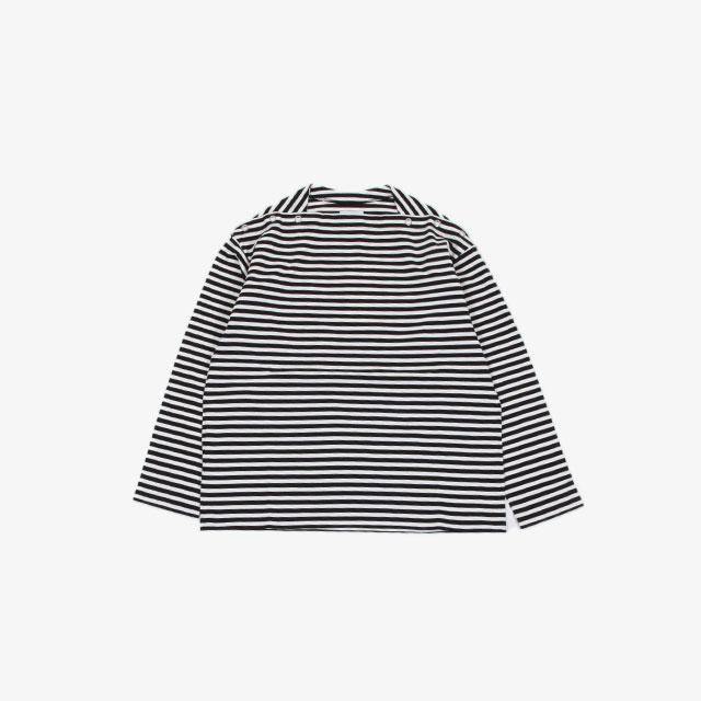 TheSoloist. shoulder buttoned boat neck shirt. black×white [sc.0005cAW20]