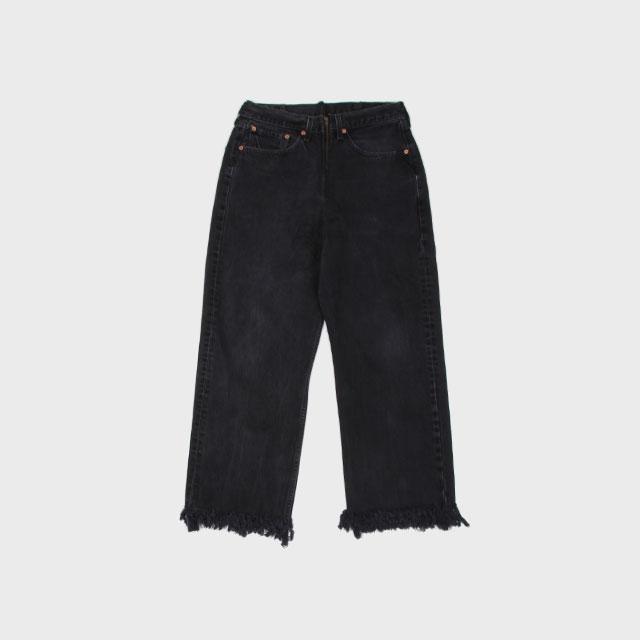 77circa circa make fringe denim pants Black size:30 [cc-sag06]