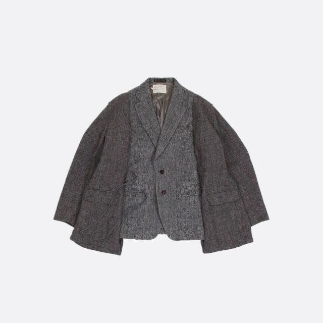 77circa  circa make wide wool jacket Grey Black Dark [cc-20aw-39]