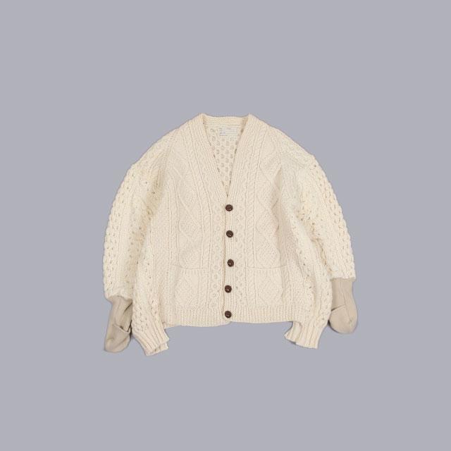 77circa  circa make mitten rib straight line fisherman cardigan Off white [cc-sag07]