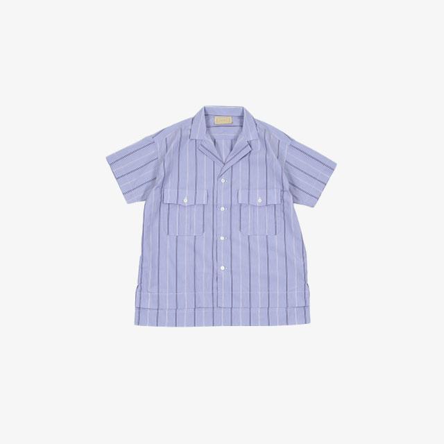 cantate Short Sleeve Shirt SAX×WHITE [21SSCA0253]