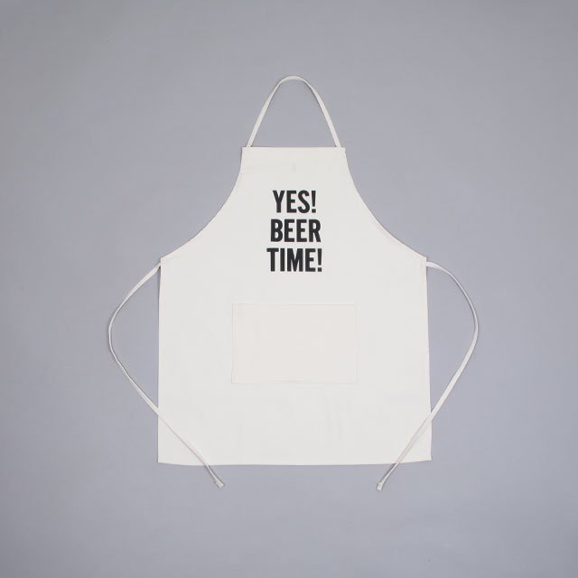 DRESSSEN ADULT APRON – YES! BEER TIME! UNBLEACHED [#47]