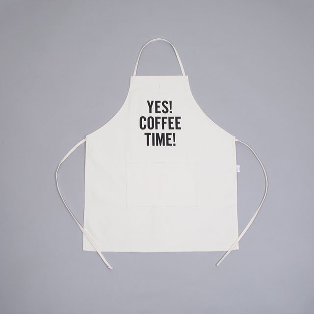 DRESSSEN ADULT APRON – YES! COFFEE TIME! UNBLEACHED [#81]