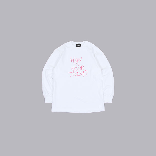 TODAY edition Message #3 LS Tee – How is your TODAY?-PINK WHITE [21ss-10]