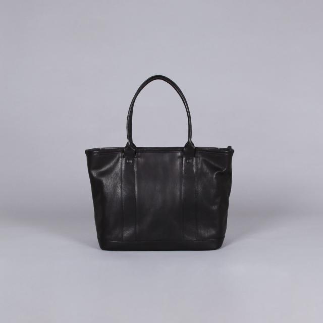 LEATHER & SILVER MOTO Fastener Tote Bag – Goat Leather Black [BAG40]