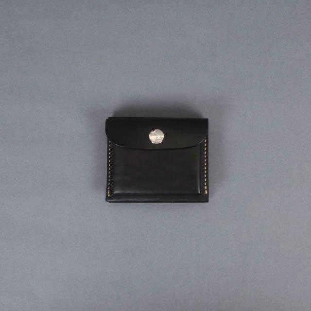LEATHER & SILVER MOTO Mini Wallet Black [W9]