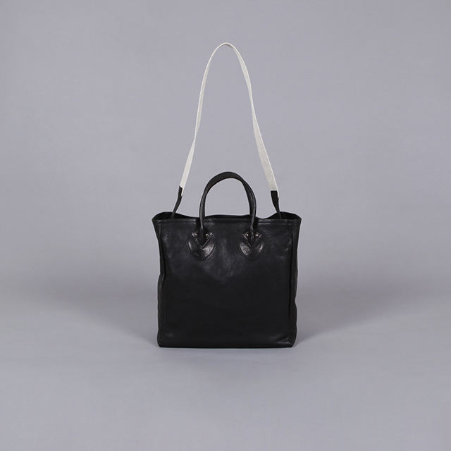 LEATHER & SILVER MOTO Small Tote Bag – Goat Leather Black [BAG42]