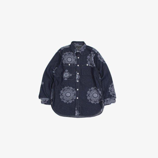 Engineered Garments Work Shirt – Floral Crest Embroidery Denim Indigo Floral [JL017]