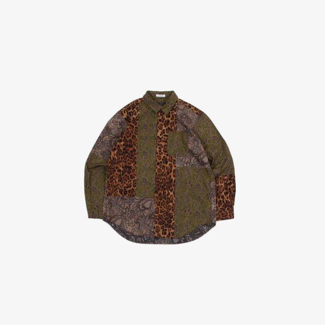 Engineered Garments Combo Short Collar Shirt – Cotton Paisley Print Olive/Purple [JL025]