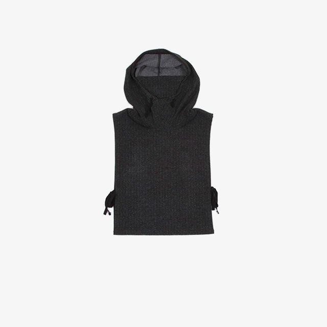 Engineered Garments Hooded Interliner – Stretch Knit Herringbone Charcoal [JL051]