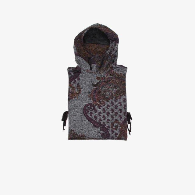 Engineered Garments Hooded Interliner – Poly Wool Paisley Print Knit Grey [JL053]