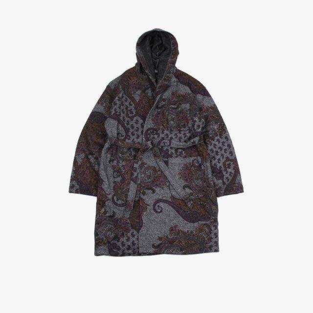 Engineered Garments Knit Robe – Poly Wool Paisley Print Knit Grey [JL067]
