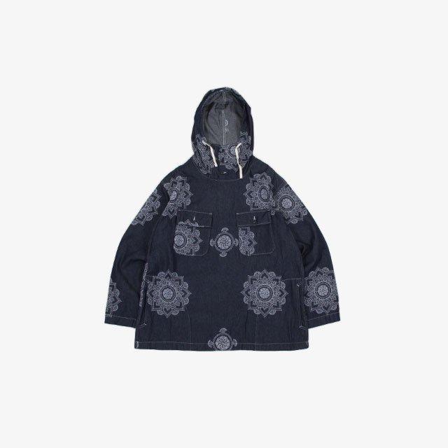Engineered Garments Cagoule Shirt – Crest Embroidery Denim Indigo Floral [JL020]