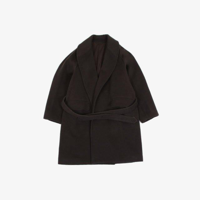blurhms Wool Cashmere Short Beaver Shawl Collar Coat KhakiGrey [BHS21F022]