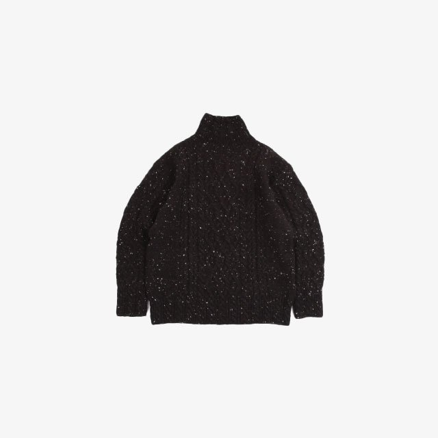AURALEE WOOL BABY ALPACA NEPPED CABLE KNIT TURTLE NECK P/O MIX BROWN [A21AT01TC]