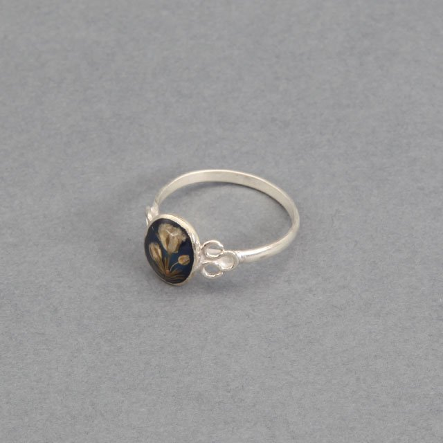 niche. Flower Oval Ring Blue [F21-ajuz-38]